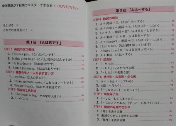 中学英語が7日間でマスターできる本の目次