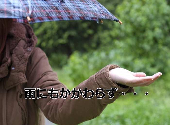 雨の中で傘をさす人