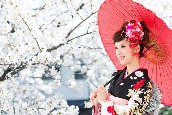 桜と着物の女性