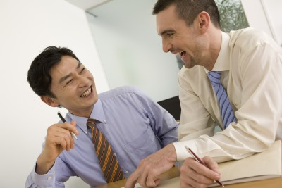 日本人と白人の男性