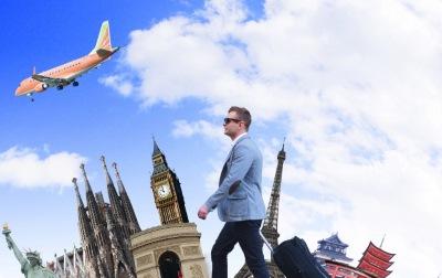 飛行機と歩く人