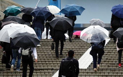 傘をさす会社員たち