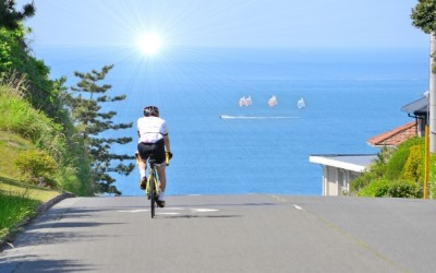 太陽に向かって走る自転車