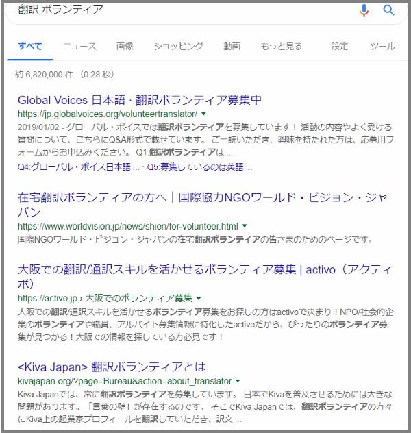 翻訳ボランティアの検索結果