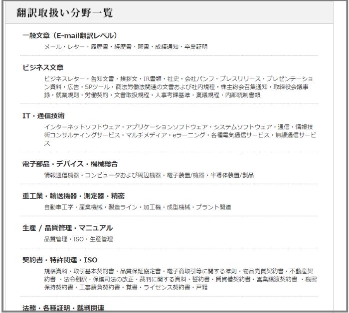 翻訳会社の取り扱い分野
