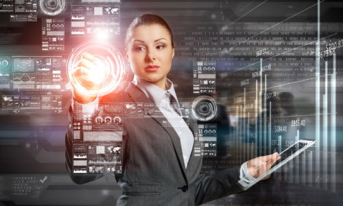 AIを使う近未来のスーツ姿の女性