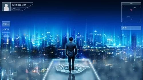 未来都市と男性