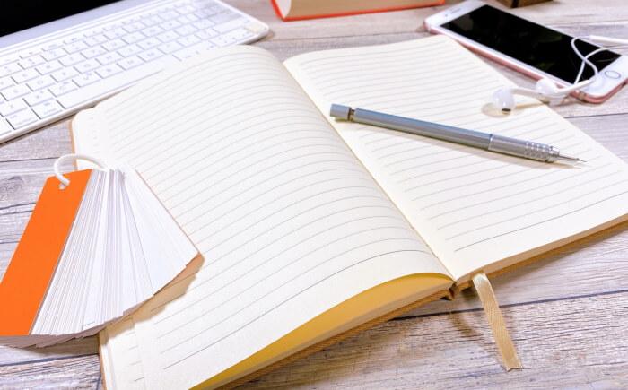 ノート、PC、単語帳